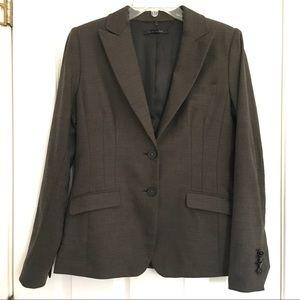 Elie Tahari Blazer Wool Blend Brown Ivory Jacket 8